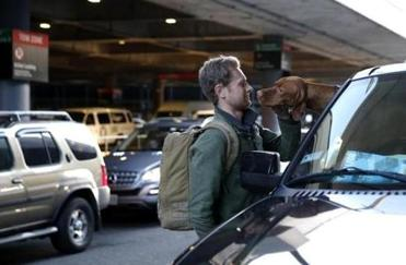 University of Virginia student Colby LaPointe was greeted by his dog, Henley, at Logan Airport as he arrived to go home to Kennebunk, Maine, for Thanksgiving.